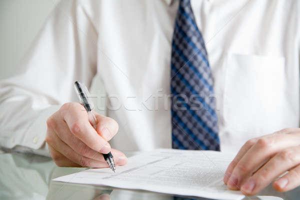 Stockfoto: Business · afbeelding · zakenman · werk · pen · glas
