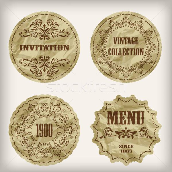 Vector vintage gouden papier gesneden Stockfoto © alexmakarova