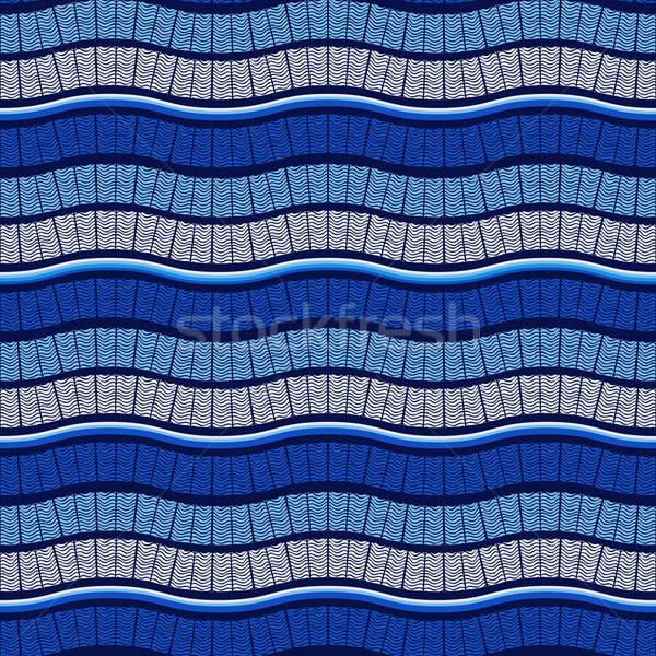 ベクトル シームレス 波状の 青 パターン ストックフォト © alexmakarova
