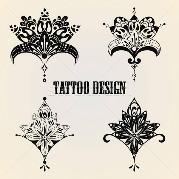 Tattoo Design Elemente Vektor Sammlung Floral Vektor