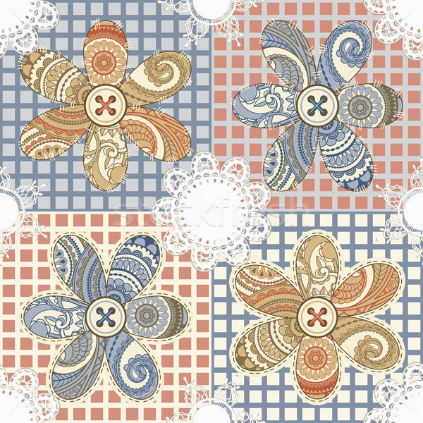 vector seamless textile background with flowers, buttons, and na Stock photo © alexmakarova
