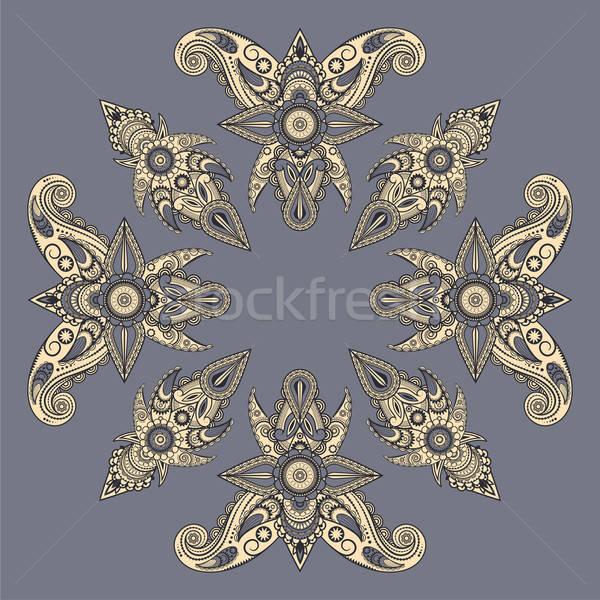 Vetor oriental estilo padrão flor folha Foto stock © alexmakarova