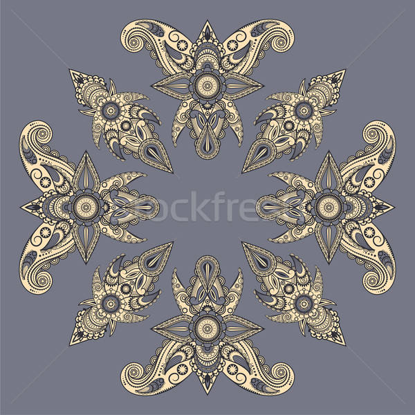 Vector oriental estilo patrón flor hoja Foto stock © alexmakarova