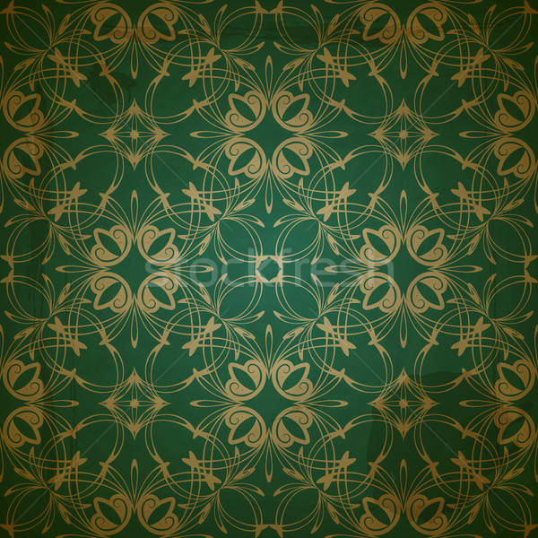 vector seamless floral golden pattern on grungy background with  Stock photo © alexmakarova