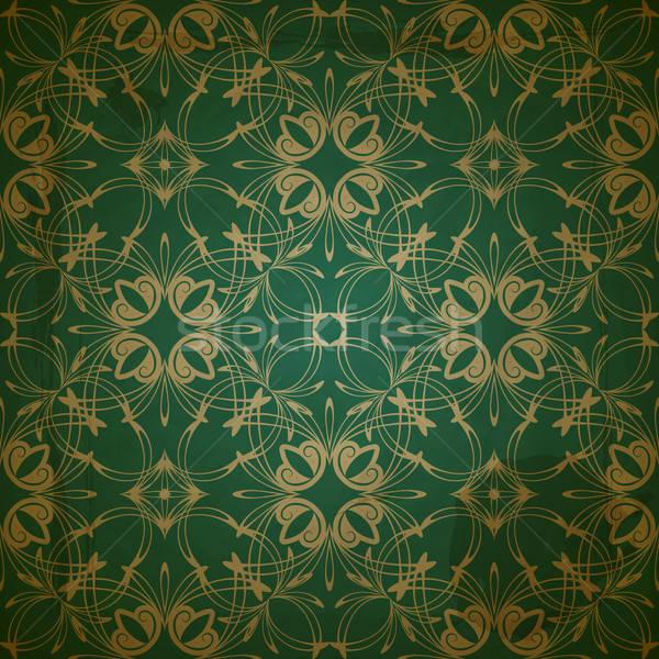 Foto stock: Vetor · sem · costura · floral · dourado · padrão · sujo