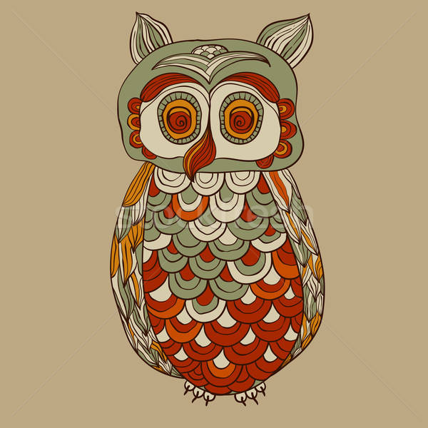 Vector Bizarre Funky Owl Stock photo © alexmakarova
