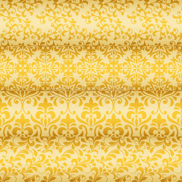 Vector Seamless Golden Floral Borders  Stock photo © alexmakarova