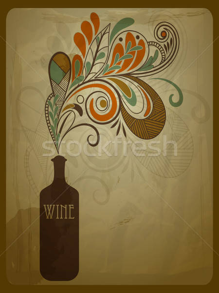 vector retro concept composition with stylized bottle of wine on Stock photo © alexmakarova