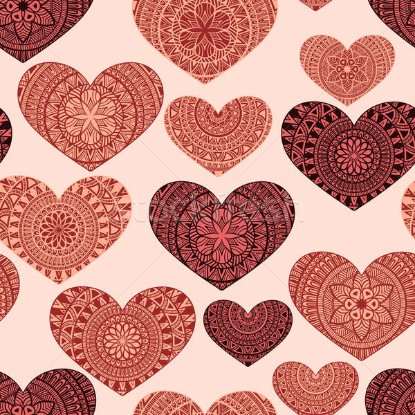 Vector Seamless Pattern with Hand Drawn Doodle Hearts Stock photo © alexmakarova