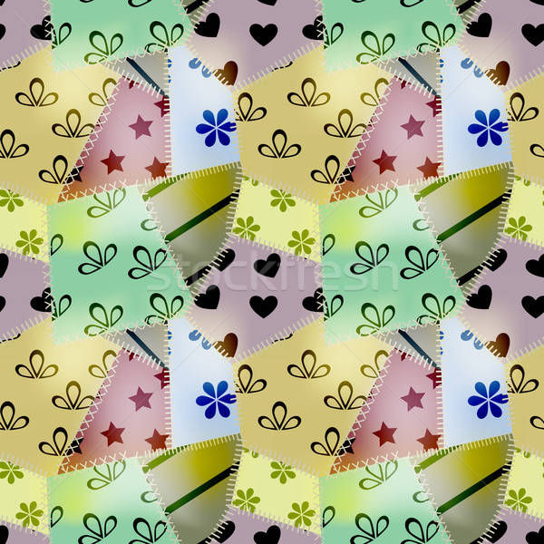 vector seamless retro pattern, consists of small textile pieces Stock photo © alexmakarova