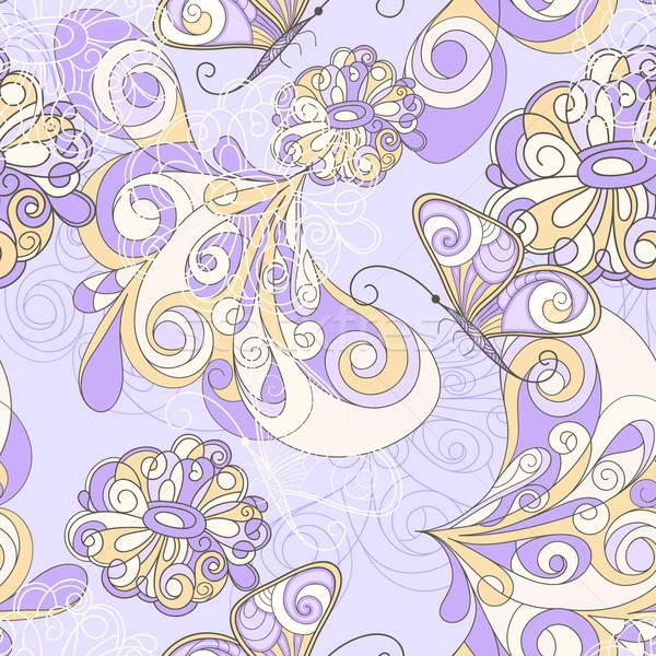 Stock fotó: Vektor · végtelen · minta · pillangók · virágok · konzerv · használt