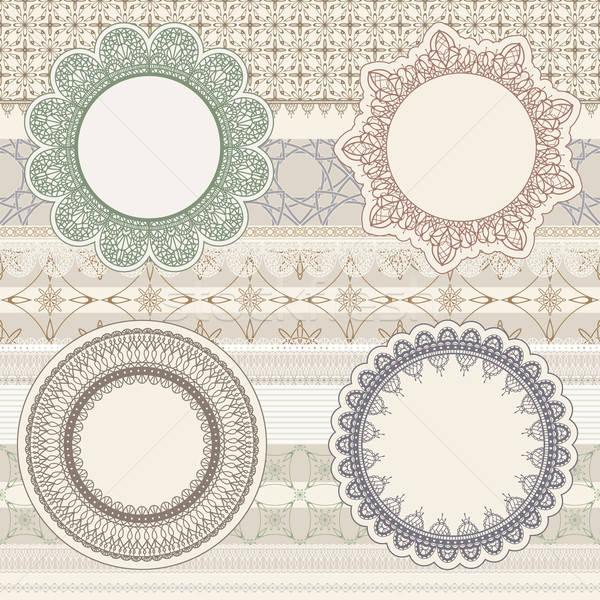 vector  lacy napkins on seamless pattern Stock photo © alexmakarova