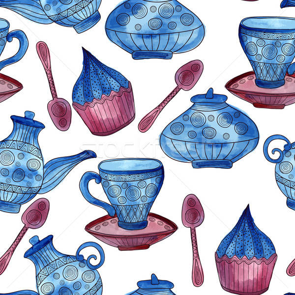 Vector Watercolor Seamless Tea Time Pattern Stock photo © alexmakarova