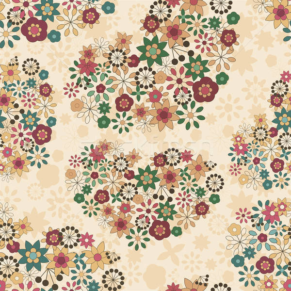 vector spring seamless pattern with flowers organized in heart s Stock photo © alexmakarova