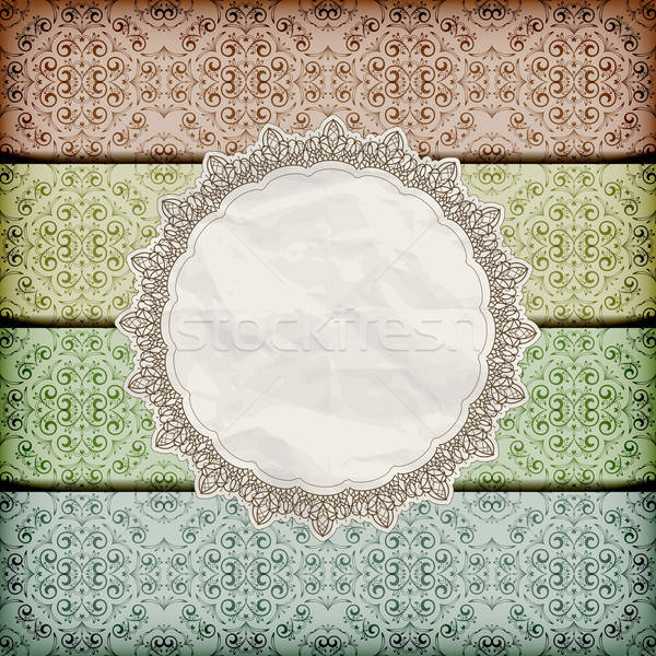 vector seamless floral borders abd napkin with lace and  crumple Stock photo © alexmakarova