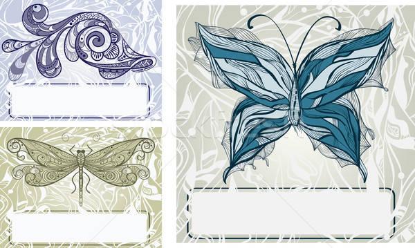 Vector ingesteld vlinder libel stijl Stockfoto © alexmakarova