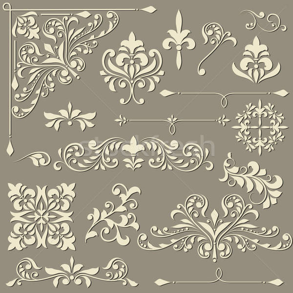 vector  vintage floral  design elements  Stock photo © alexmakarova