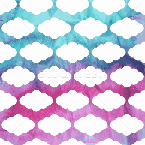 Vector Seamless  Pattern with Clouds on watercolor winter backgr Stock photo © alexmakarova