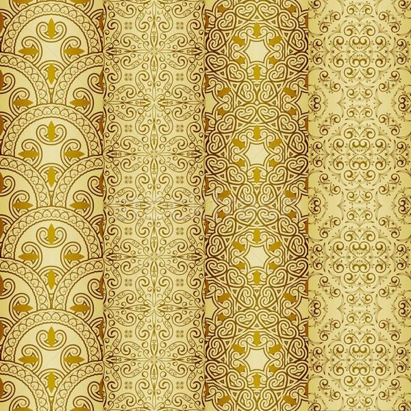 vector seamless golden patterns, oriental style Stock photo © alexmakarova