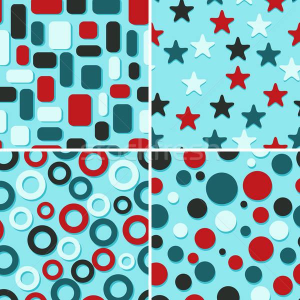 Négy absztrakt vektor végtelenített minták retro konzerv Stock fotó © alexmakarova