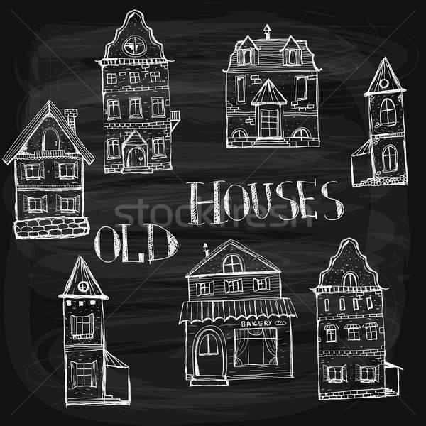 7 old styled houses Stock photo © alexmakarova