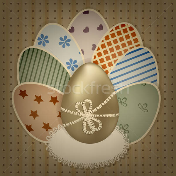 vector  easter greeting card with golden and retro colorful eggs Stock photo © alexmakarova