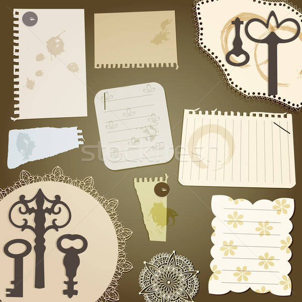 vector scrapbook design elements: vintage key, torn pices of pap Stock photo © alexmakarova