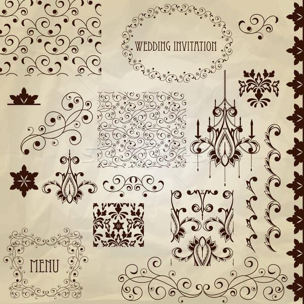 Vektor klasszikus terv elemek szett papír textúra Stock fotó © alexmakarova