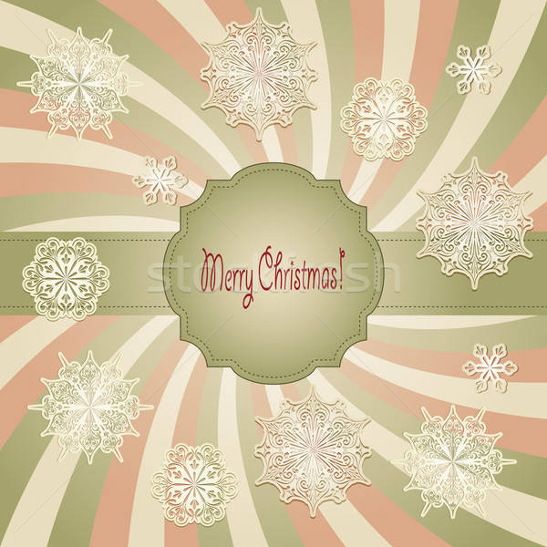 Vecteur Noël carte de vœux flocons de neige style rétro Photo stock © alexmakarova