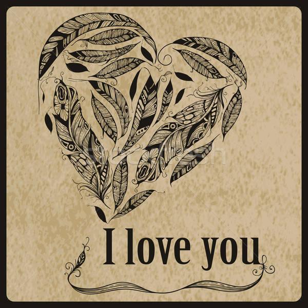 Vektor szív tollak szeretet betűtípus nyírfa Stock fotó © alexmakarova