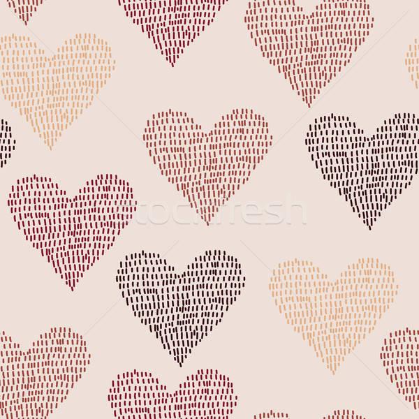 Vektor végtelen minta szívek funky szeretet háttér Stock fotó © alexmakarova