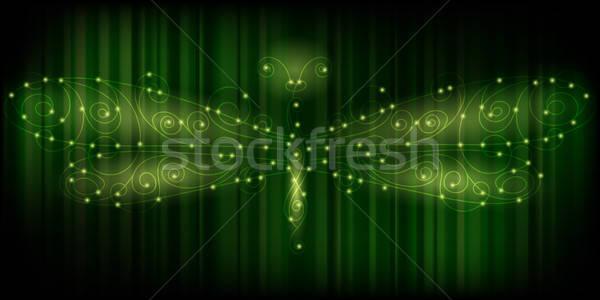 Vecteur brillant libellule énergie illustration rayé Photo stock © alexmakarova