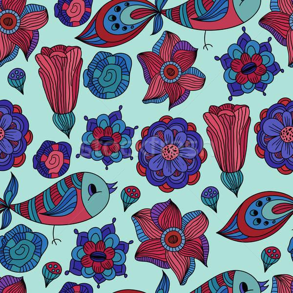 ストックフォト: ベクトル · シームレス · 春 · フローラル · パターン · 抽象的な