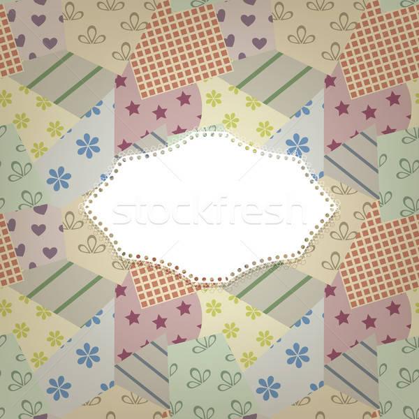 vector seamless retro pattern and napkin for your text Stock photo © alexmakarova