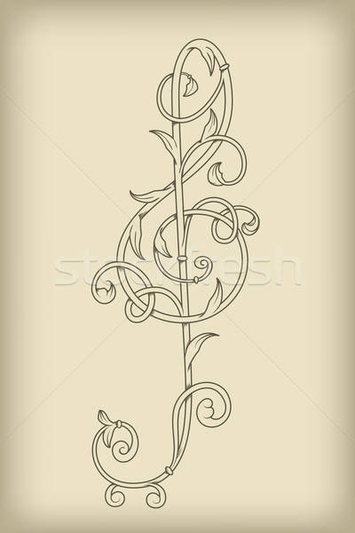 Stock photo: vector floral vintage  G clef