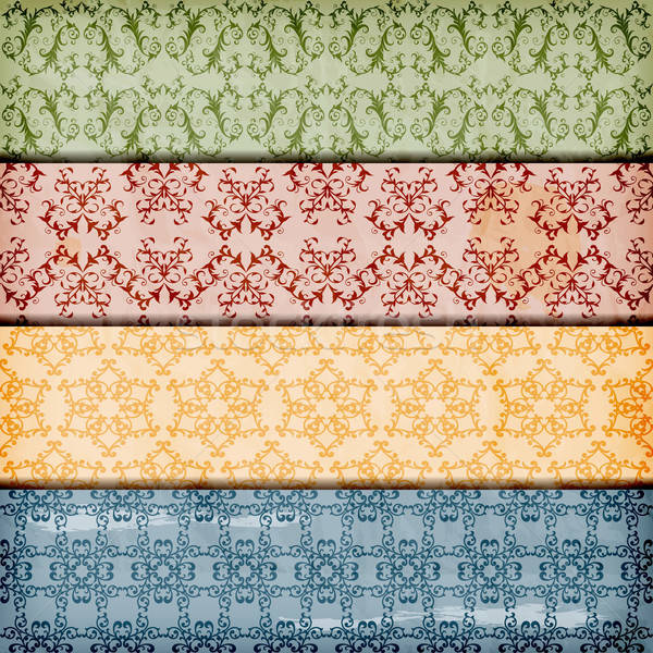 vector seamless floral borders on  crumpled paper texture Stock photo © alexmakarova