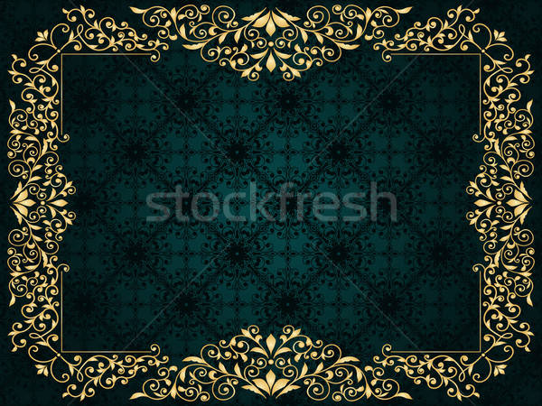 Vector greeting card with golden frame on vintge seamless patter Stock photo © alexmakarova