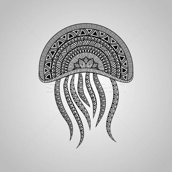 Vektor meduza tetoválás stílus fekete gradiens Stock fotó © alexmakarova