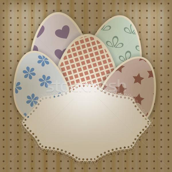 vector  easter greeting card with retro eggs abd lacy napkin Stock photo © alexmakarova