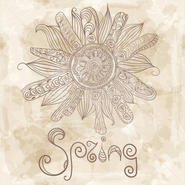 Vettore fiore di primavera parola primavera vecchia carta texture Foto d'archivio © alexmakarova