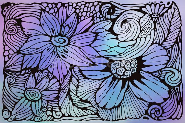 вектора Funky шаблон цветы стороны странный Сток-фото © alexmakarova
