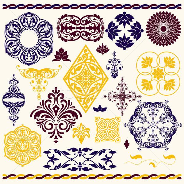 vector set of floral design elements Stock photo © alexmakarova