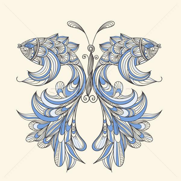 Vektor Schmetterling Flügel Fische kann benutzt Stock foto © alexmakarova