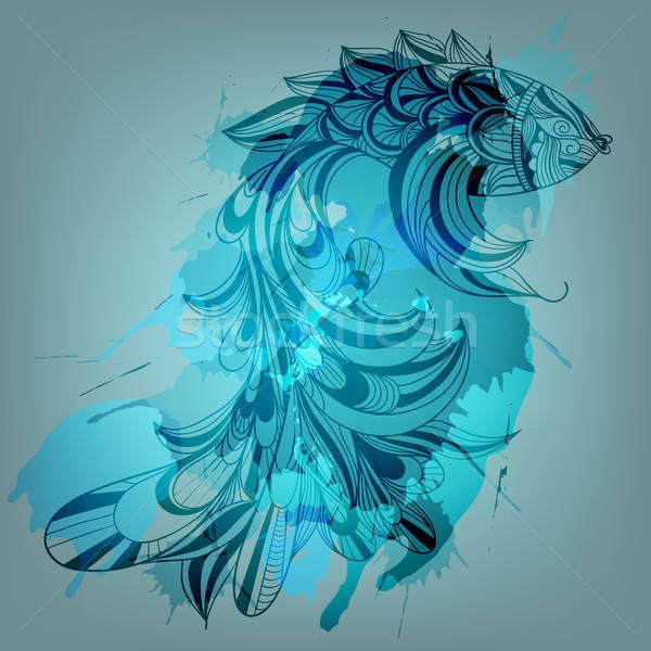 ベクトル 青 魚 跳ね テクスチャ ストックフォト © alexmakarova