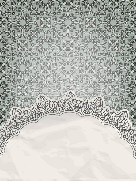 vector lacy frame for your text on seamless retro floral pattern Stock photo © alexmakarova