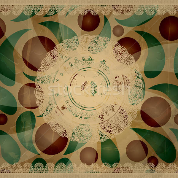 vector retro  background with lacy napkins and floral ornament b Stock photo © alexmakarova