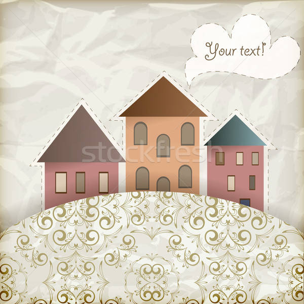 vector retro background with old houses, place for your text Stock photo © alexmakarova