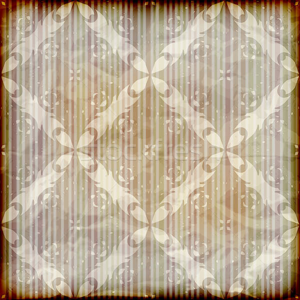 vector seamless floral wallpaper on striped background,  crumple Stock photo © alexmakarova