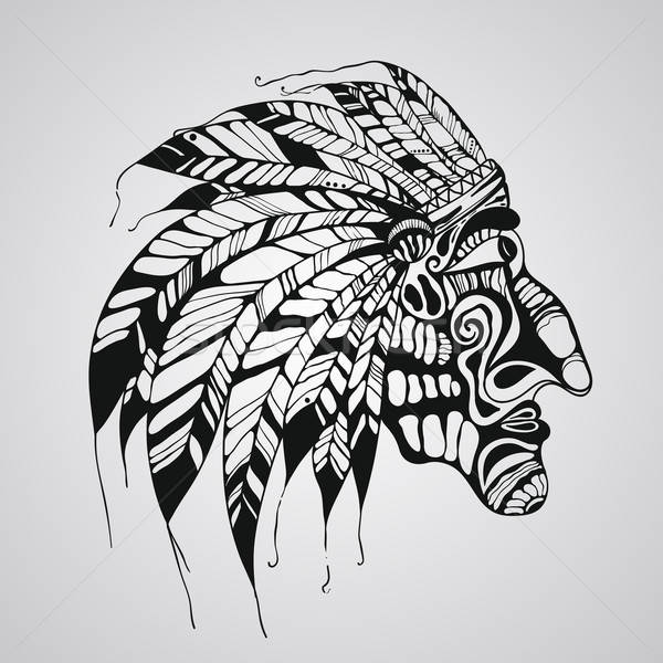 Stock photo: Vector Tattoo, Native American Indian chief