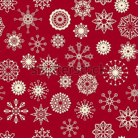 Foto d'archivio: Senza · soluzione · di · continuità · inverno · pattern · vettore · fiocchi · di · neve